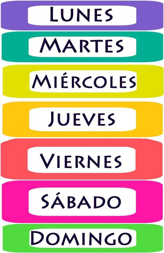 Menta Más Chocolate - RECURSOS PARA EDUCACIÓN INFANTIL: Rotulos de los DÍAS DE LA SEMANA