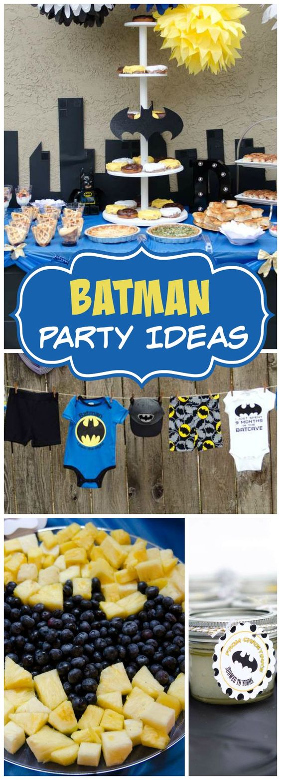 Have you ever seen a Batman themed baby shower?! See more party ideas at CatchMyParty.com!: