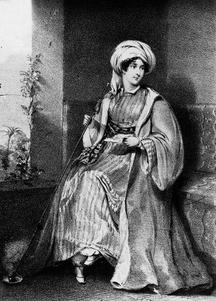 Lady Hester Stanhope, para muchos la viajera más intrépida, recorrió las montañas del Líbano con su séquito.