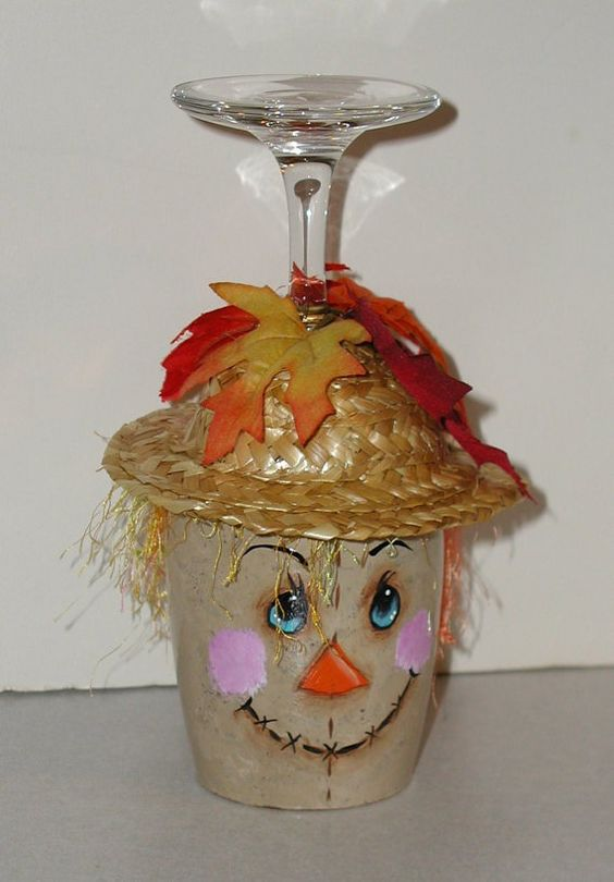 Scarecrow wine glass candle holder wine hk pinterest for Beach wine glass candle holders