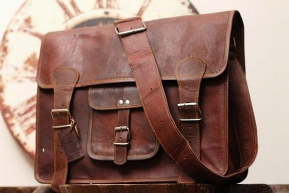 Leather Messenger Bag / Satchel - Vintage Retro Looking School bag   - 15x11x4. $74.00, via Etsy.