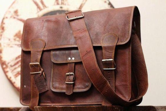 Leather Messenger Bag / Satchel - Vintage Retro Looking School bag   - 15x11x4. $74.00, via Etsy.
