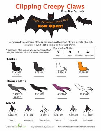 rounding decimal numbers math student centered resources and halloween. Black Bedroom Furniture Sets. Home Design Ideas