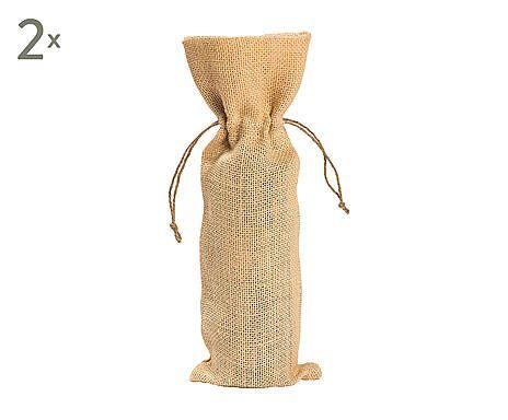 Set di 2 sacchetti porta bottiglia in juta Spring party ecru' - d 13/h 38 cm