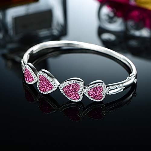 OPALTOP White Gold Plated Heart Bangle Bracelets Pink//Deep Blue Crystal for Her
