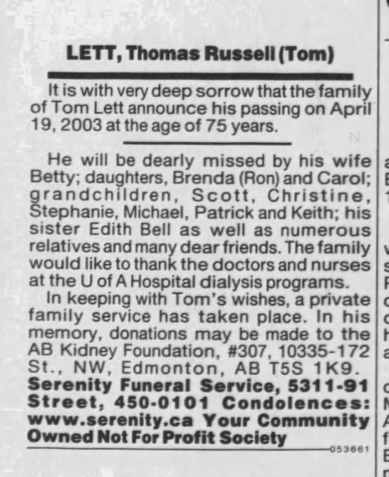 Clipping Found In Edmonton Journal In Edmonton Alberta Canada On Apr 23 2003 Thomas Russell Tom Lett Obituary 19 Apr In 2020 Letts Obituaries Newspaper Archives