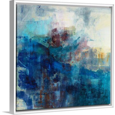 Orren Ellis Ocean Linen Painting On Canvas Format White Floater Frame Size 17 7 H X 17 7 W X 1 75 D In 2020 Painting Canvas Art