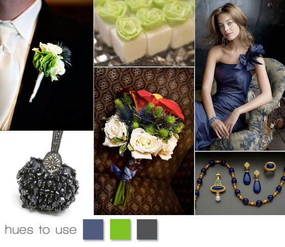 Love the bold midnight blue paired with lime green!   #blue #green #wedding