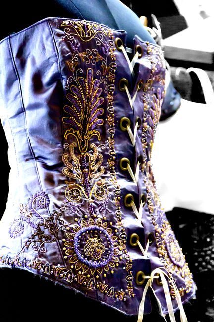 Mauve corset from Abrash Embroidery.: