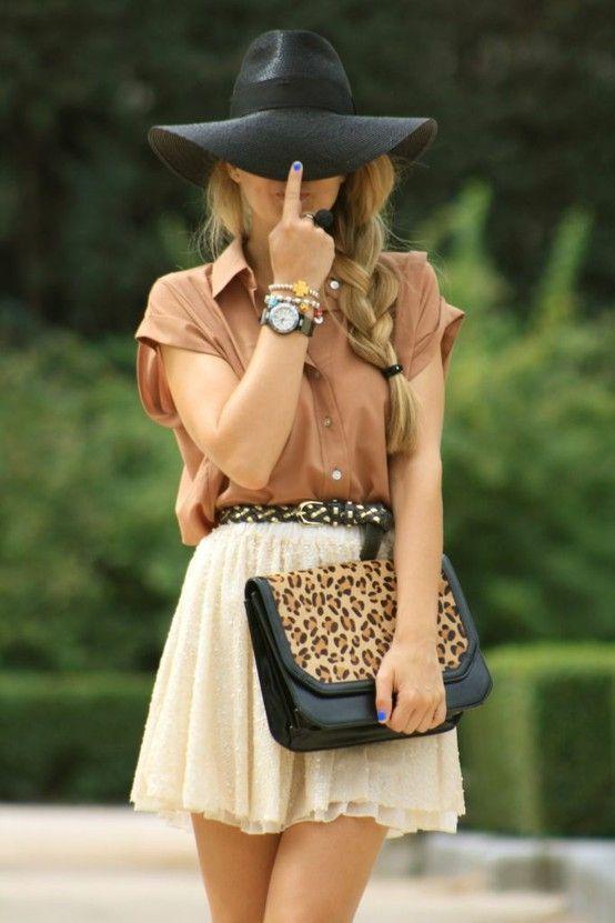 #hat x leopard bag