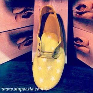 Scarpe CHA-CHA Pelle Gialla con Stelle – Anniel Shoes