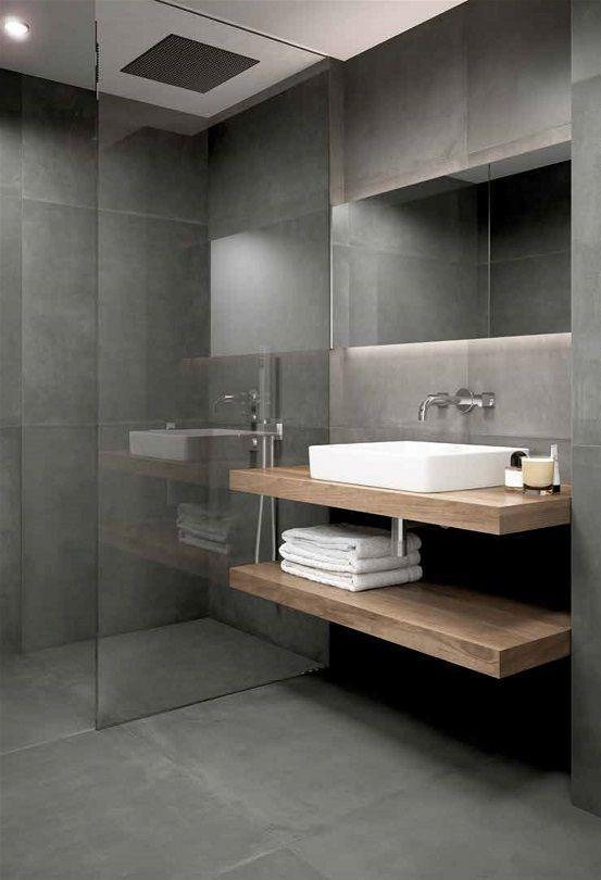 Living Ceramics Essential Dunkelgrau 90x90 Darkgraybathroom