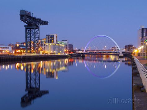 UK, Scotland, Glasgow, River Clyde, Finnieston Crane and the Clyde Arc, Nicknamed the Squinty Bridg Photographic Print by Alan Copson - AllPosters.co.uk