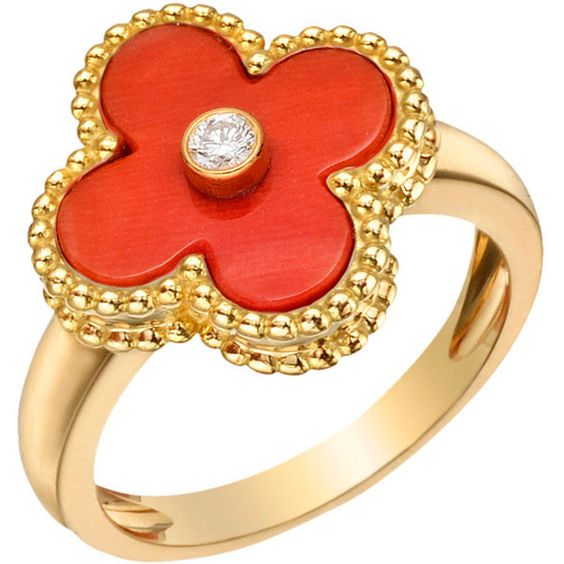 "VAN CLEEF & ARPELS Gold & Red Coral ""Vintage Alhambra"" Ring at 1stdibs ❤ liked on Polyvore"