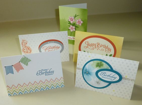 Birthday Card Stamp-a-Stack, 20 cards in 2 hours, based on the Watercolor Wonder Notecards in Stampin' Up!'s Occasions Catalog.  Contact me for more information at http://lindamadison.stampinup.net