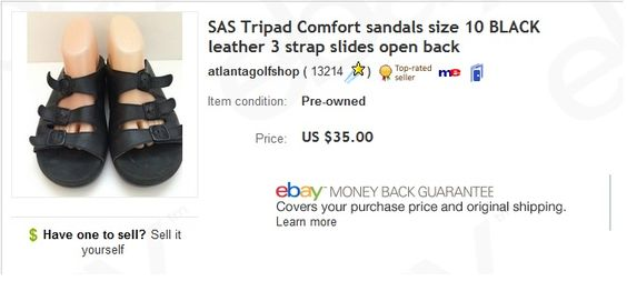 SAS Tripad sandals $2 at thrift store, sold for $35. Learn to sell UGLY preowned shoes on eBay!