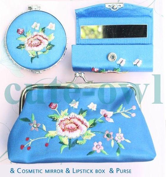 Pretty Chinese Handmade Floral Brocade Silk Cosmetic Mirror&Lipstick Box&Purse
