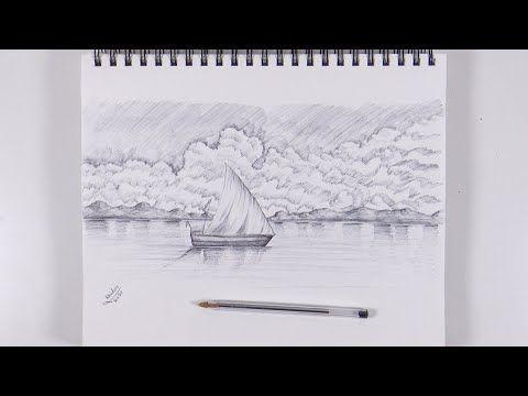 تعلم كيف ترسم سفينة وغيوم بالقلم الجاف الاسود Drawings Landscape Tapestry