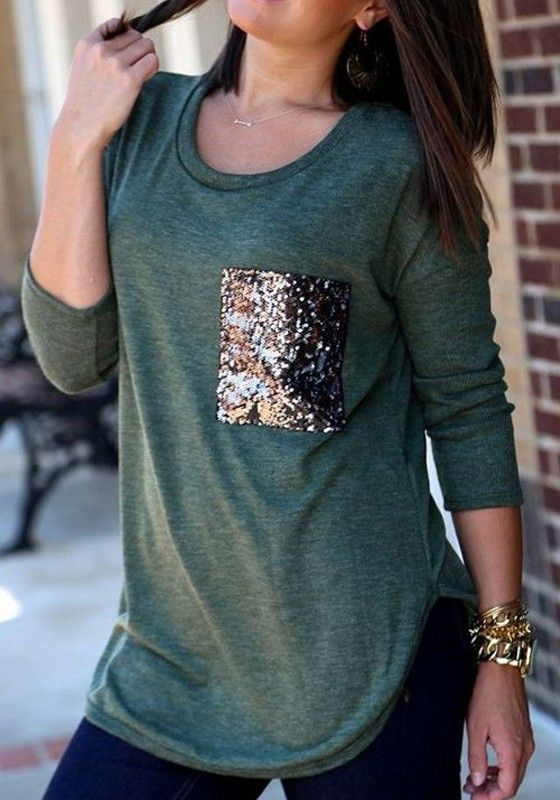 Dark Green Patchwork Pockets Sequin Long Sleeve Round Neck Casual Fashion T-Shirt