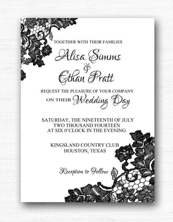 Black Lace Wedding Invitation 5x7 Printable Invitation Wedding – Black Lace Wedding Invitations