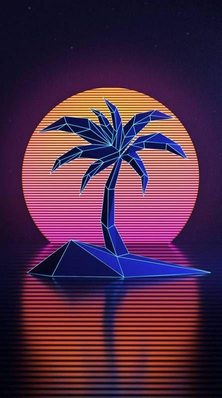 Led Palm Tree Vaporwave Wallpaper Neon Wallpaper Minimalist Wallpaper Cool distro wallpapers hd