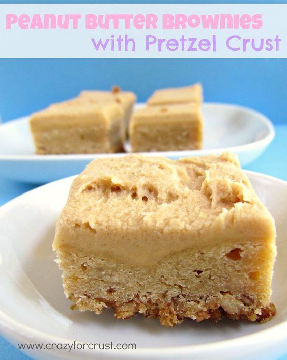 Peanut Butter Brownies Recipe...pretzel crust, PB brownie & PB frosting