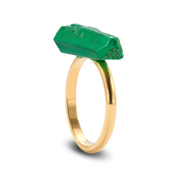 Solange Azagury-Partridge  Kryptonite ring Diamond and ceramic plated ring set in 18ct yellow gold