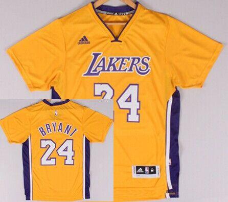 Los Angeles Lakers #24 Kobe Bryant Revolution 30 Swingman 2014 New Yellow Short-Sleeved Jersey