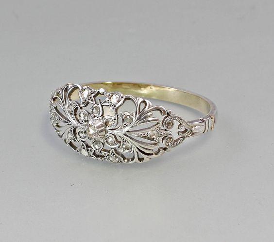 Antiker Diamant Armreif um 1830 Silber und hochkarätiges Gold floral 7525082