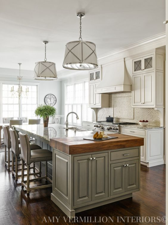 Marble + Butcher Block Island...would this be too many different surfaces if I did soapstone on the perimeter cabinets?