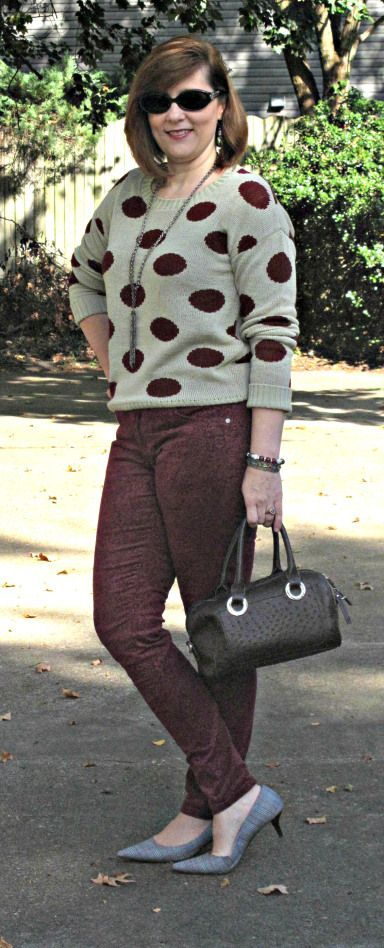 Polk a dots and Paisley Burgundy Paisley Corduroy Skinnies Over 40 Petite Blogger: