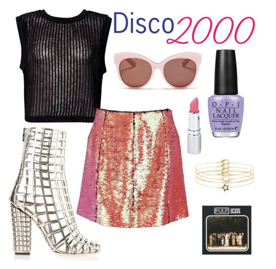 """disco 2000"" by esteraca ❤ liked on Polyvore featuring Yves Saint Laurent, Motel, Markus Lupfer, OPI, Blanc & Eclare, Accessorize, HoneyBee Gardens, party, metallic and saintlaurent"