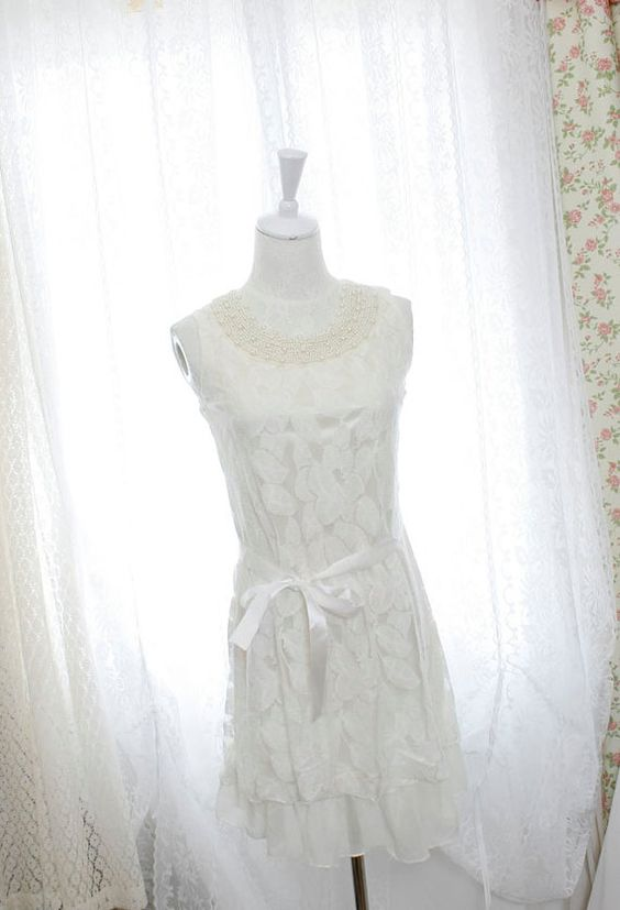 Pearl collar white lace dress dreamy romantic by miadressshop, $27.00: