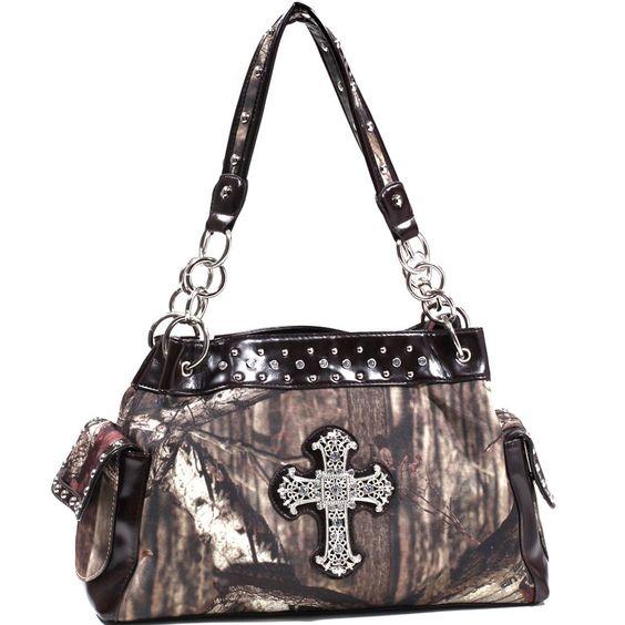 Mossy Oak Studded Camouflage Shoulder Bag w/ Rhinestone Cross - Camouflage/Co...