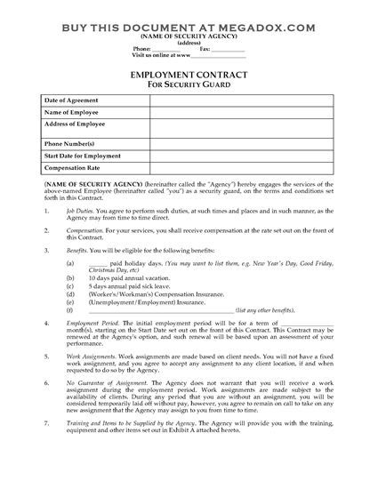 Security Guard Employment Contract Security Guard Letter