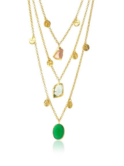 Zariin Waves In The Sea Light Pink & Green Necklace