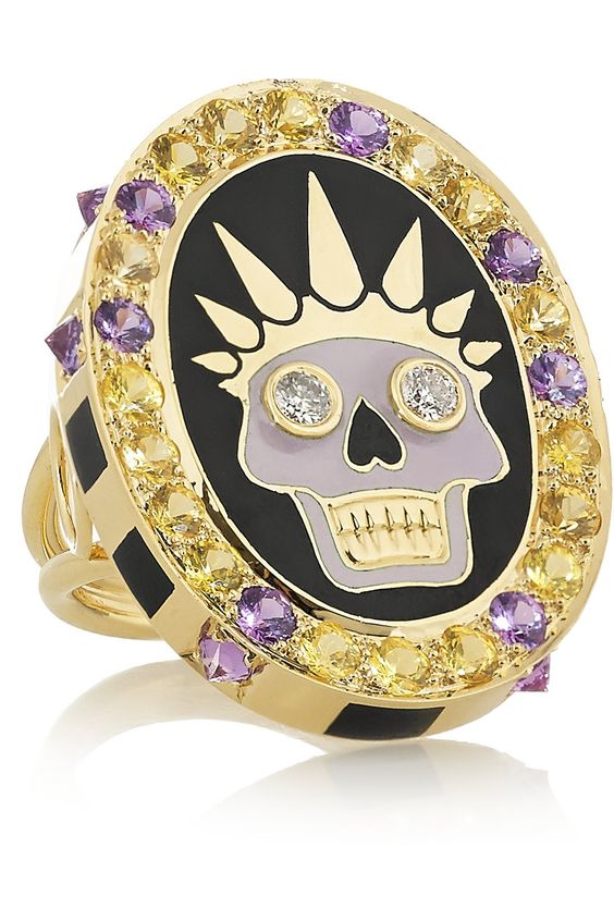 Holly Dyment  Thursday 18-karat gold, enamel, diamond and sapphire ring NET-A-PORTER.COM