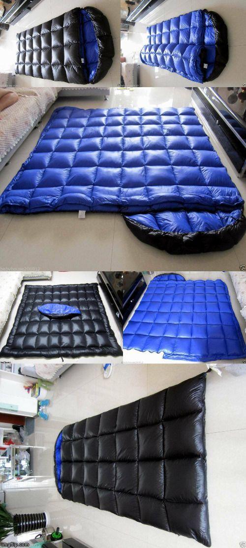 Shiny nylon sleeping bag expedition down sleeping bags 3000g filling wet-look