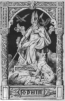 Odin avec les loups Geri (avide) et Freki (violent) et les corbeaux Huginn (pensée) et Muninn (mémoire). - Johannes Gehrts