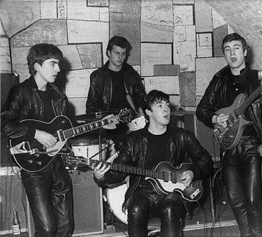 The Beatles on stage at Liverpool's  Cavern Club