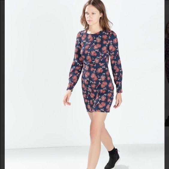 ZARA dress Long sleeve mini dress with the open back. Never been worn. Zara Dresses Mini