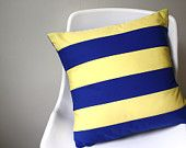Nautical Throw Pillow Cover 18 x 18 Color Block Yellow Blue Signal Flag