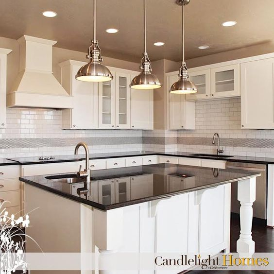 Black Granite, Cupboards And Can Lights On Pinterest