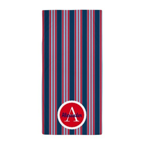 Blue And Red Stripes Beach Towel By Designsbyharmony With Images