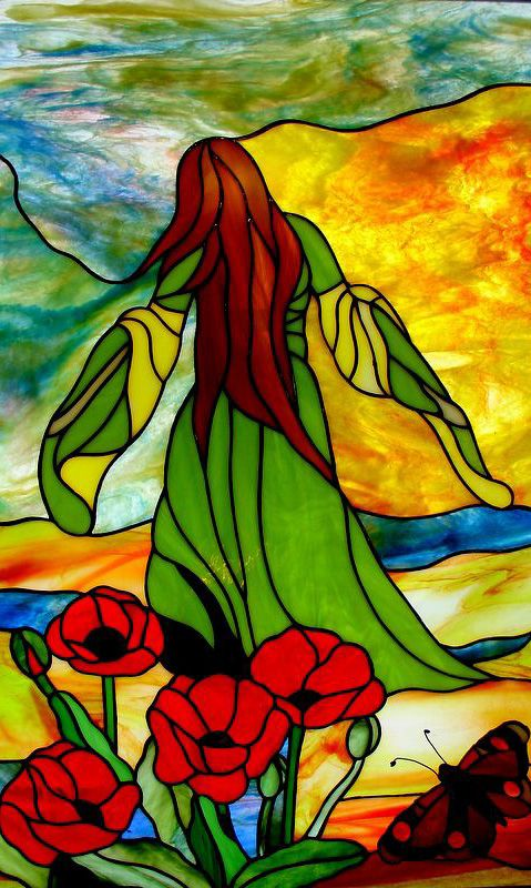 Young Woman Stained Glass