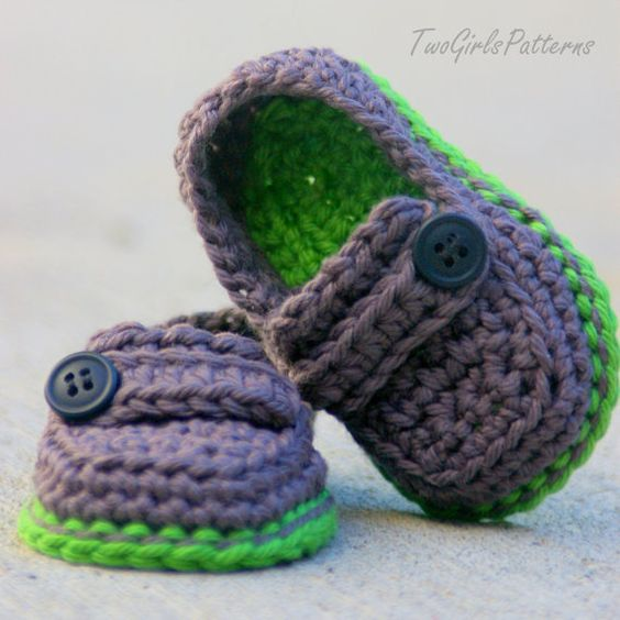 PATRÓN de ganchillo 120 bebé Lil' mocasines por TwoGirlsPatterns