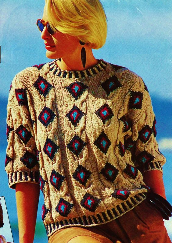 Aztec Inspired Cabled Pullover Top Vintage Knitting Pattern Download
