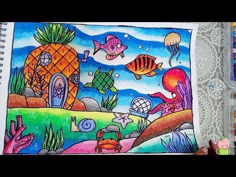 Cara Menggambar Dan Mewarnai Pemandangan Dasar Laut Gradasi Warna Oil Pastel Youtube Cara Menggambar Pemandangan Drawing