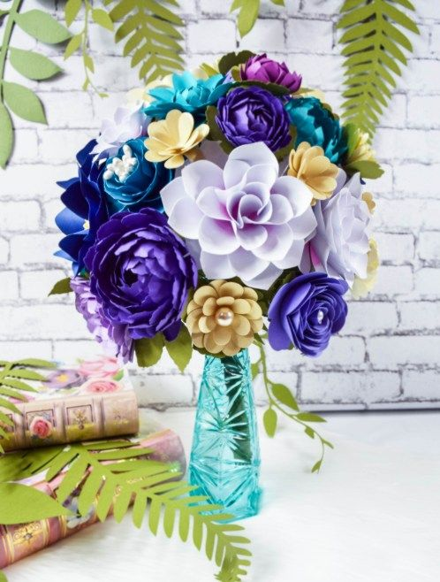 Paper Flowers with Stems Paper Flower Bouquet Wedding Flower Centerpieces Mother/'s Day Wedding Flower Bouquet Blue Paper Flowers