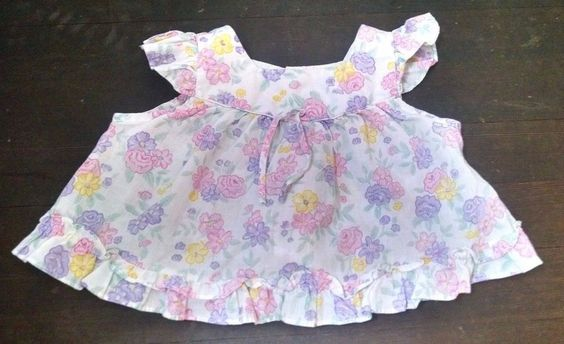 Vtg Babyfair Baby Girl Top 18M White Pink Purple Flowers Flutter Sleeves Summer #Babyfair #Everyday